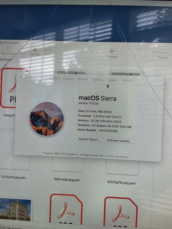 iMac 27 inch 2010 model 2.8 ghz intel core- i5 32GB RAM