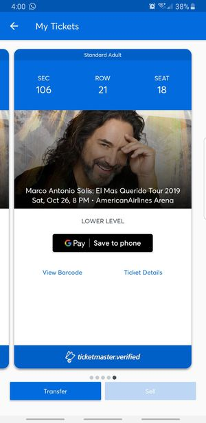 Marco Antonio Solis- Miami AA Arena October 26, 2019. Section 106 for Sale in Miramar, FL