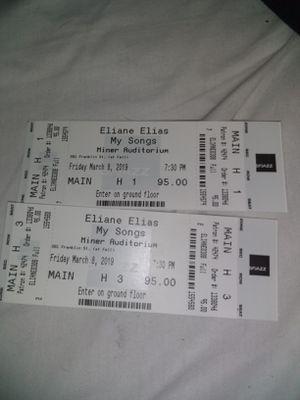 2 Tickets Eliane Elias..My Songs..Minor Auditorium..Fri. Mar 8th, 7:30pm for Sale in San Francisco, CA