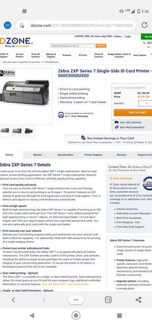 Zebra id card printer for Sale in Dallas, TX