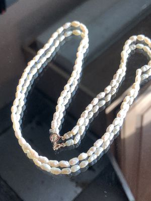 Vintage Genuine Fresh Water Pearls Handstung on 14KT Gold Chain and Clasp for Sale in Raleigh, NC
