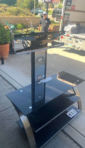 """Great condition Black Z line designs tv stand. Barely used. 3 glass shelves, chrome accents. 44""""L, 24"""" w for Sale in La Costa, CA"""