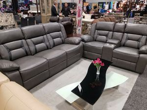 $265 per 2 weeks gray color bonded leather recliner sofa and loveseat 2pc set for Sale in College Park, MD