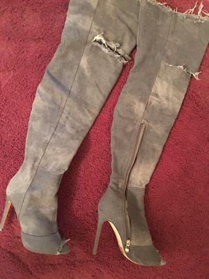 Tall denim grey boots size 8 for Sale in North Miami Beach, FL