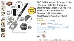 BBQ Grill Brush and Scrapper - 18in - Premium Safe 4 in 1 Stainless Steel Barbecue Cleaner Bristle Free Brush - Non-Slip Handle for Charcoal Grill We for Sale in Temecula, CA