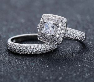 Stamped 925 Sterling Silver Engagement/ Wedding Ring Set for Sale in Houston, TX