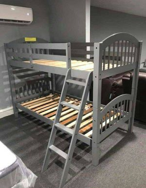 new gray color bunk beds- mattresses not included- new in boxes- order it like a pizza for Sale in Houston, TX