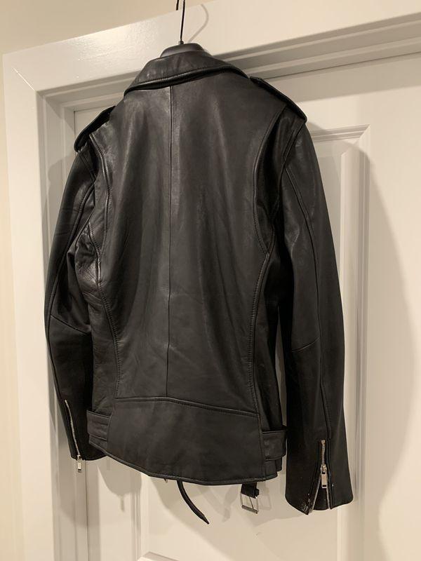 Zara real leather biker jacket - men's
