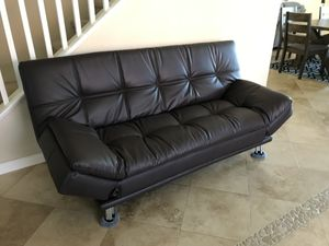 Beautiful Brand New Chocolate Brown Leather Sofa Futon for Sale in Oceanside, CA