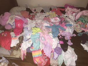 I HAVE 0 to 6 MONTHS GIRL CLOTHES FOR SALE THERE IS 103 ONESIE FAIRLY NEW 30 LEGGINGS, PANTS, AND, SHORTS ALSO 10 DRESSES, AND 6 JACKETS THE CLOTHE for Sale in Washington, DC