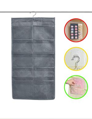 Closet & Door Hanging Organizer with Rotating Metal Hanger, Mesh Pockets and Dual Sided Wall Shelf Wardrobe Storage Bags for Bra Sock Shoe Jewelry Ga for Sale in Rosemead, CA