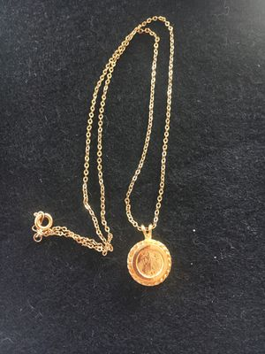 Gold 14 k plated chain and pendant two different coins for Sale in San Diego, CA