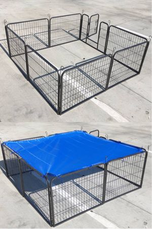 Brand new 24 inch tall x 32 inches wide each panel x 8 panels heavy duty exercise playpen with sun shade tarp cover fence safety gate dog cage crate for Sale in Los Angeles, CA