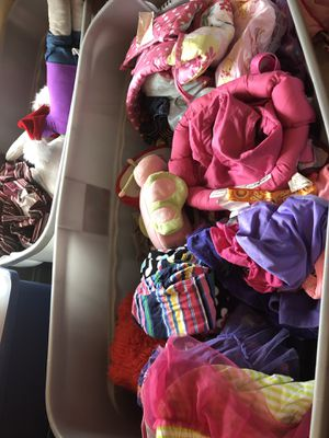 Bin of 12-2t girls clothes. Shoes With toys doorway bouncer for Sale in Vienna, VA