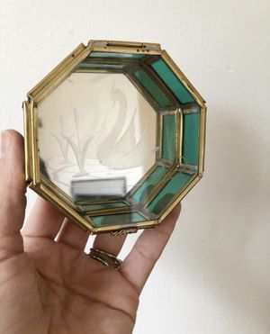 Small green stained glass octagon trinket box with mirrored bottom and etched swan / eclectic boho decor for Sale in Hillsboro, OR
