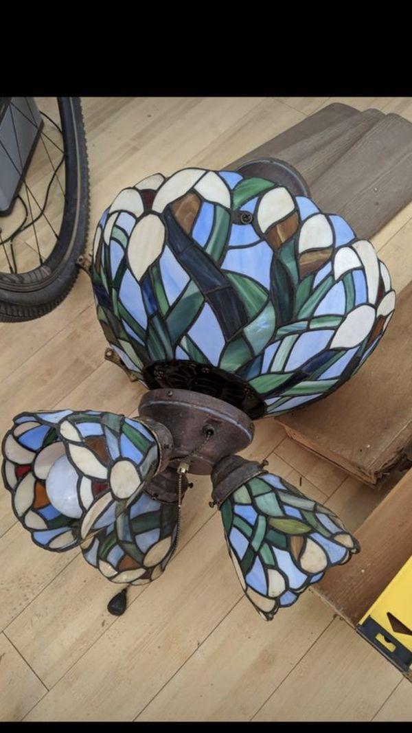 Tiffany Style Stained glass chandelier & ceiling fan.