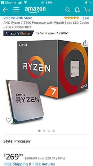Ryzen 7 2700 8 core by 16 threads 4.2 ghz boost for Sale in Roselle, IL