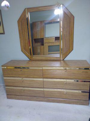Oak headboard with mirror. for Sale in Sacramento, CA