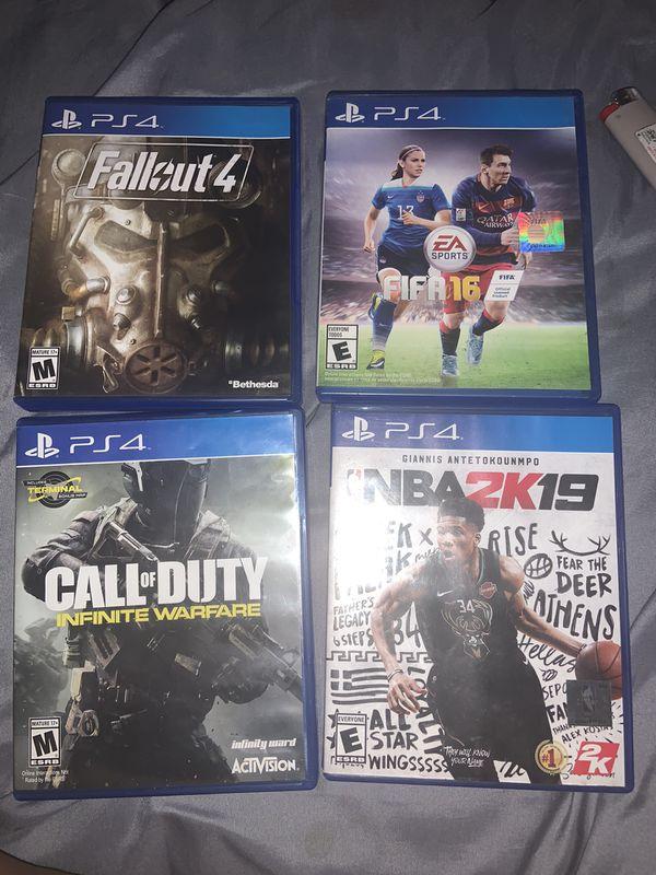 PS4 Games : COD , 2k19, Fallout 4, FIFA 16