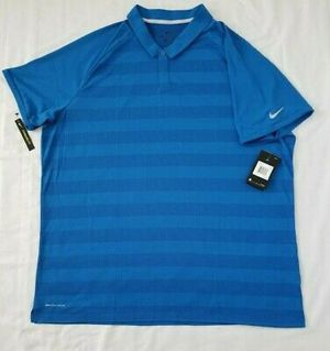 Mens Size Large Blue Stripe Nike Dri Fit Zonal Cooling Golf Polo Shirt AH8467-465 for Sale in Fairfax, VA