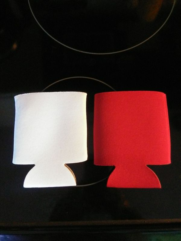 White and red can koozies