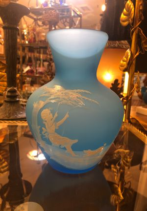 Blue Satin Vase With Mary Gregory Design #013 for Sale in Phoenix, AZ