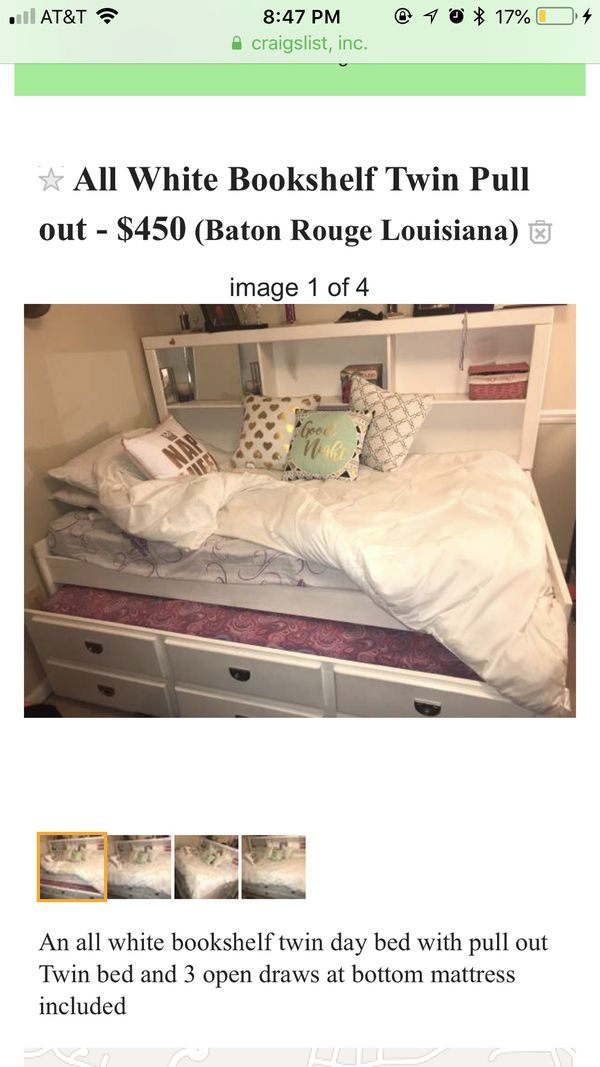 Twin size day bed with pull out all white LIKE BRAND NEW