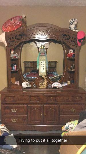 Oak king bed frame and oak hutch for Sale in Bellevue, NE