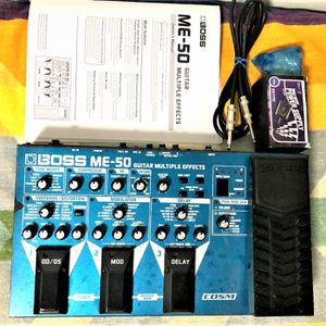 BOSS ME-50 Guitar Multiple Effects, with 9v Power Adapter, 6 ft Cable, Printed Manual, 6 New AA Batteries, Good Condition, Excellent Performance works for Sale in Pomona, CA