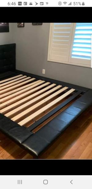 European queen bed frame only good conditions pick up firm price for Sale in Perris, CA