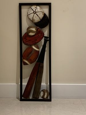 Baseball wall decor made out of metal in great shape for Sale in Tamarac, FL
