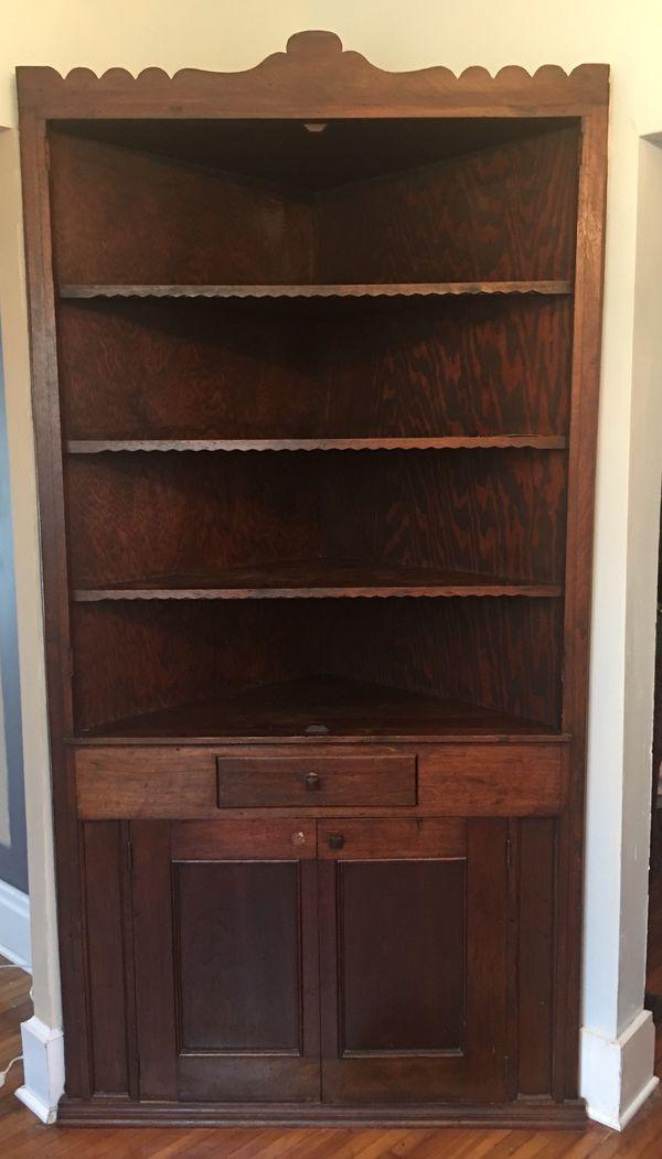 Antique corner hutch cabinet
