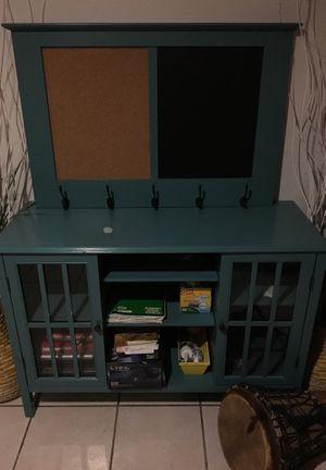 Cork board/ chalkboard with hooks and entertainment center/ storage for Sale in Denver, CO