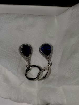 Women earrings blue stones and diamonds for Sale in Columbia, SC