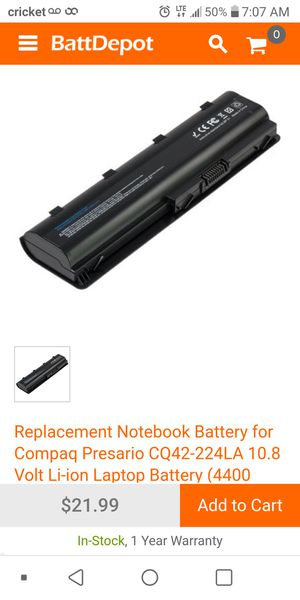 Replacement Notebook Battery for Compaq Presario CQ42-224LA 10.8 Volt Li-ion Laptop Battery (4400 for Sale in San Antonio, TX
