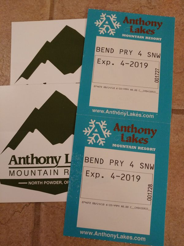 2 Anthony Lakes lift tickets