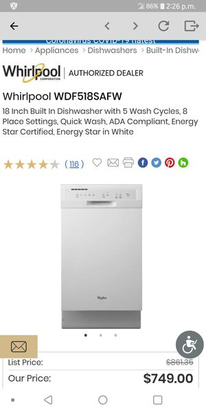 New Whirlpool dishwasher White for Sale in Philadelphia, PA