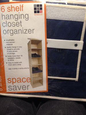 Six Shelf Hanging Closet Organizer for Sale in Plainfield, IL