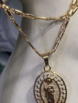 """Oval Saint Jude Gold Plated Pendant With Chain Necklace 20"""" 3mm for Sale in Nashville,  TN"""