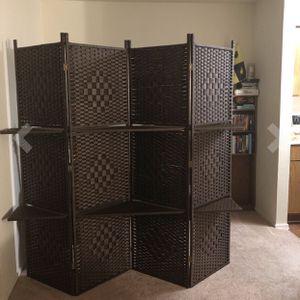New Fiber Brown Beige 4 Panels With Shelves Screen Divider for Sale in Riverside, CA