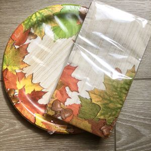 18/14ct Fall Elegant Thanksgivings Paper Plates + Serving Napkins Set- Leaves for Sale in Dallas, GA