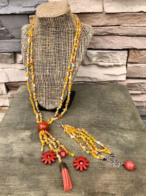 Long beaded necklace with bracelet set. Multi colored boho necklace with Millefiori chips beads for Sale in San Bernardino, CA
