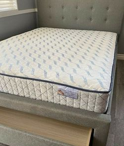 New Queen Size Grey Tufted Bed W/storage & New Mattress Included for Sale in Fresno,  CA
