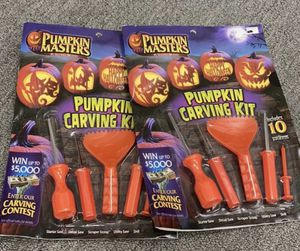 Set of 2 Pumpkin Masters Halloween Pumpkin Carving Set with 10 Patterns for Sale in Corona, CA
