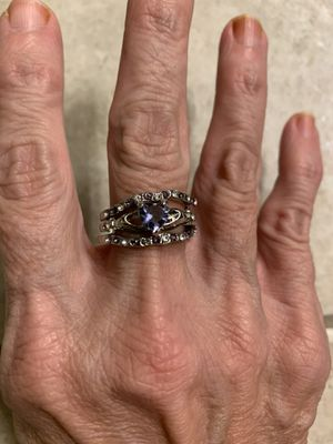 New 3 piece purple amethyst silver wedding ring size 9 for Sale in Palatine, IL