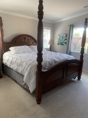Classic Italian style bed and king size mattress and box springs with My Pillow mattress topper. for Sale in Lake Elsinore, CA