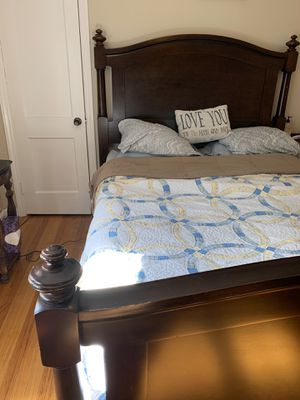 Pottery barn queen bed frame and box spring for Sale in South Hadley, MA
