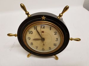 Antique ships wheel/helm clock for desk for Sale in San Diego, CA