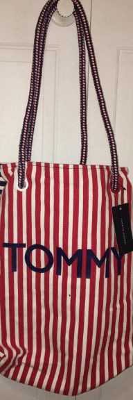 Tommy Hilfiger Red White and Blue Striped Tote Bag for Sale in Sunrise, FL