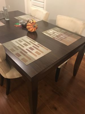 Can deliver: Dining Set Brown Adjustable Table /4 Beige Chairs for Sale in San Francisco, CA